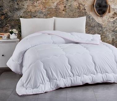 Komfort Home Çift Kişilik Yazlık Biyeli MicroSaten Lüx Yorgan +2Yastık Beyaz